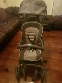 baby's gray and white stroller 208 mi