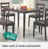 rectangular brown wooden table with four chairs set