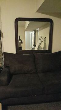Chocolate suede loveseat with mirror Greensboro, 27406