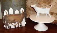 White Farmhouse Pastry Cake Plate Stand Cow Creamer & Wall Decor Sign