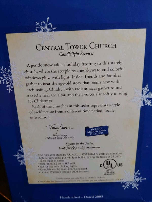 "Hallmark Keepsake: ""Central Tower Church""  6"