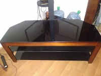 black and red wooden TV stand