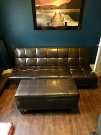 Faux Leather Futon and Ottoman with Storage Calgary, T2V 0N3