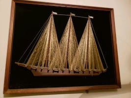 Silk Hand Crafted Picture of Sail Boat