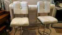 two white leather padded chairs Toronto, M1S 1T5