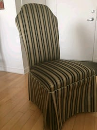 two brown-and-black striped fabric sofa chairs Dorval