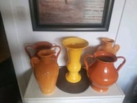 5 ceramic vases set