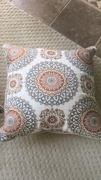 White, blue, and orange patterned throw pillow Island Lake, 60042