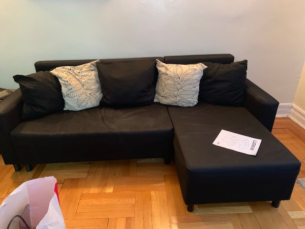 Used IKEA Lugnvik black corner sofa bed with chaise lounge couch for ...