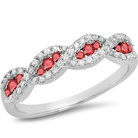 10k White Gold Ruby and Diamond Swirl Ring, size 6 Norfolk, 23503