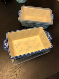 Temptations loaf pans ceramic nonstick with lids, two here price is for both. I meet people at quicktrip 9500 forest lane Dallas Texas 75243 Dallas, 75243