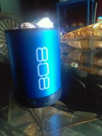 blue and black 808 portable speaker