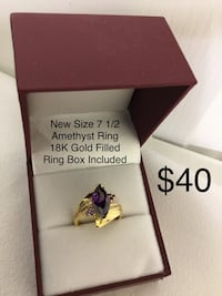 New Amethyst Ring, 18K Gold Filled, Size 7 1/2,  a Ring Box is included Chesapeake, 23320