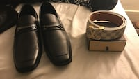 pair of black horsebit loafers and Damiere Azur Louis Vuitton initiales belt with box Palmer, 01069