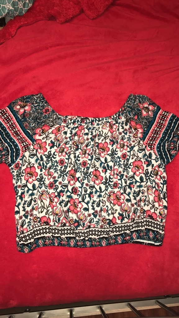 Black and red floral scoop neck top