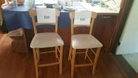 two white leather padded chairs Palatine, 60074