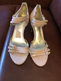 pair of white leather open toe ankle strap heels Hartsdale, 10530