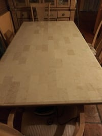 Marble top dining table 6seats for 175 and Glass wood cabinet for 255