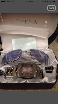 Silver analog geneva watch with link bracelet in box Maple Park, 60151