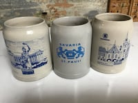 Three white-and-blue German Beer Mugs Cutchogue, 11935