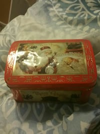 white and red Merry Christmas Santa Claus print tin box