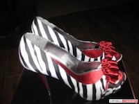 White red and black zebra print peep toe ribbon ac Coquitlam, V3J 2H6