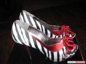 White red and black zebra print peep toe ribbon ac