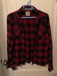TNA RED PLAID FLANNEL SIZE L