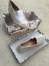 Gray trash perforated leather slip on shoes