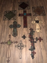 Beautiful crosses wall decor(6- crosses in all ) plus 3-extra wrought iron pieces  Midlothian, 76065