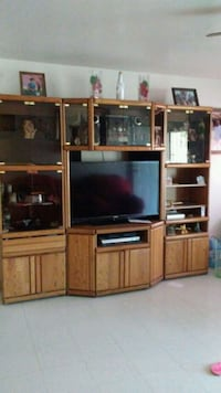 brown wooden TV hutch with flat screen television Arvin, 93203