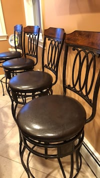4 Brown leather Bar Stools Weehawken, 07086