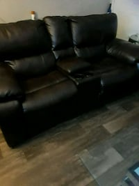 black leather 3-seat recliner Austin, 78741
