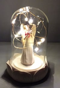 "6""inch LED Capsule Light Enchanted Angel Heart Glass Dome"