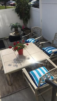 Marble patio table with 4 chairs