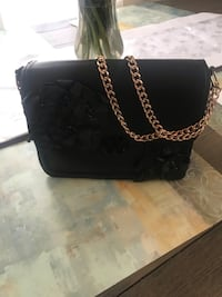 black leather crossbody bag with silver chain link Clarkstown, 10954