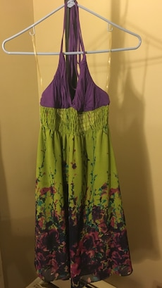 Women's green and purple floral dres
