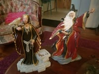 Wizard and Sorceress painted pottery, circa 1990s