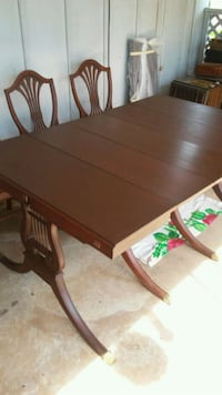 rectangular brown wooden table with six chairs dining set Bossier City, 71111