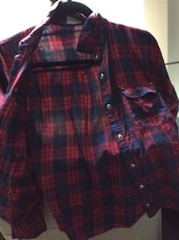 blue and red checked button up sports shirt La Verne, 91750