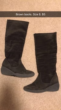 pair of size 8 black suede sheepskin snow boots Lake Country, V4V 1K3