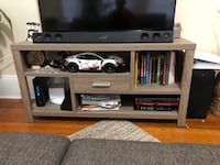 TV stand Taupe, lots of storage! BROOKLINE