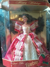 Barbie doll wearing red and white dress Orange, 77632