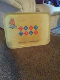 yellow and blue plastic container