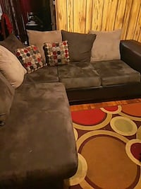 brown suede sectional couch with throw pillows Lexington, 27292