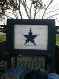 blue and white wooden Dallas Cowboys print container Brownsville, 78526