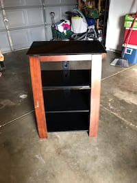Wood and tempered glass 4 shelf tv stand Loveland, 80538