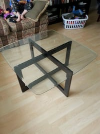 square clear glass table
