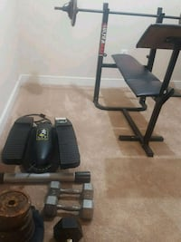 Set dumbel, bench and 140 lbs weight