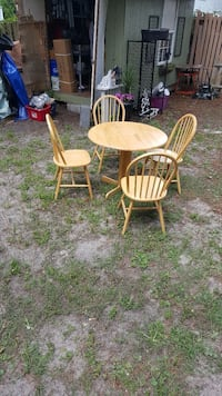 Dropleaf Wooden Table& 4 Windsor Chairs